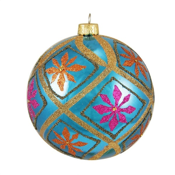 "Flower Power Blue Glitter Floral Shatterproof Christmas Ball Ornament 4"" (100mm)"