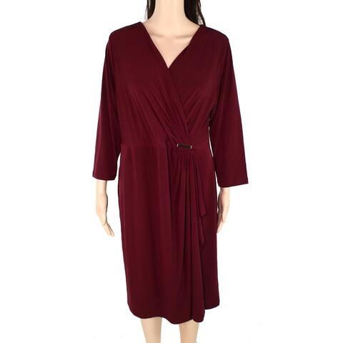 Charter Club Women's Dress Burgundy Red Size 2X Plus Wrap Hardware