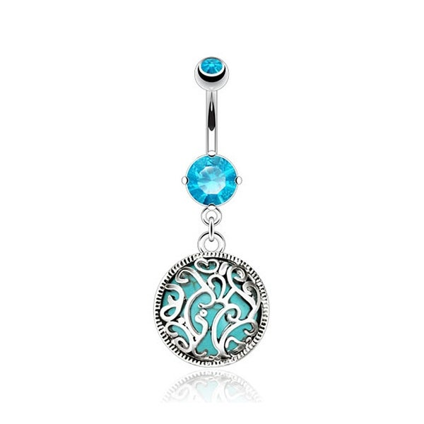 Swirls Medalian with Turquoise Semi Precious Stone Inside Navel Belly Button Ring 316L