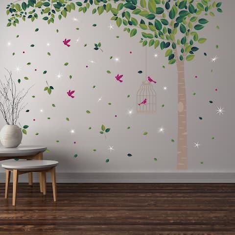 Walplus Peel and Stick Wall Sticker Decal Green Tree Swarovski Crystal