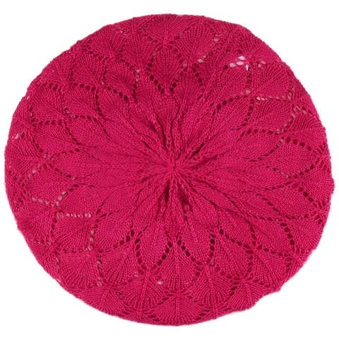 BYOS Chic Parisian Style Lightweight Crochet Beret Beanie Hat with Flower Adornment