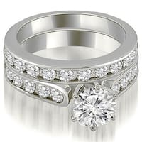 3.19 ct.tw 14K White Gold Cathedral Round Cut Channel Set Diamond Matching Bridal Set HI, SI1-2