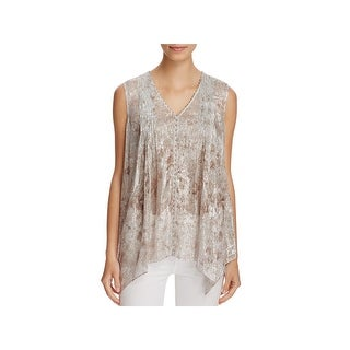 Elie Tahari Womens Pullover Top Silk Metallic