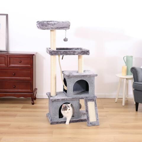 """50""""H Gray Multi-Layer Cat Condo Tree"""
