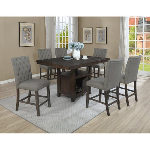 Best Quality Furniture Rustic Counter Height 7-Piece Dining Set