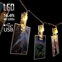 16.4ft 40 LEDs Photo Clip String Lights, 2700K Soft White, USB Supplied