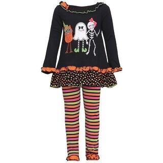 Rare Editions Baby Girls Black Owl Ghost Skeleton Halloween Pant Set 6M