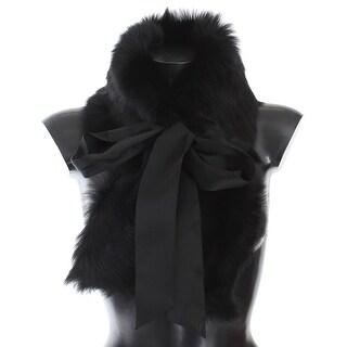 Dolce & Gabbana Black Lambskin Fur Silk Scarf - One size