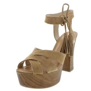 Guess Womens Prenna Platform Heels Suede Ankle Strap - 9.5 medium (b,m)