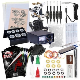Rehab Ink Complete Tattoo Kit w/ 2 Machines, Power Supply, Needles, 4 Inks & More