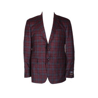 Tasso Elba Red Black Plaid Double Button Notched Collar Sport Coat 40R