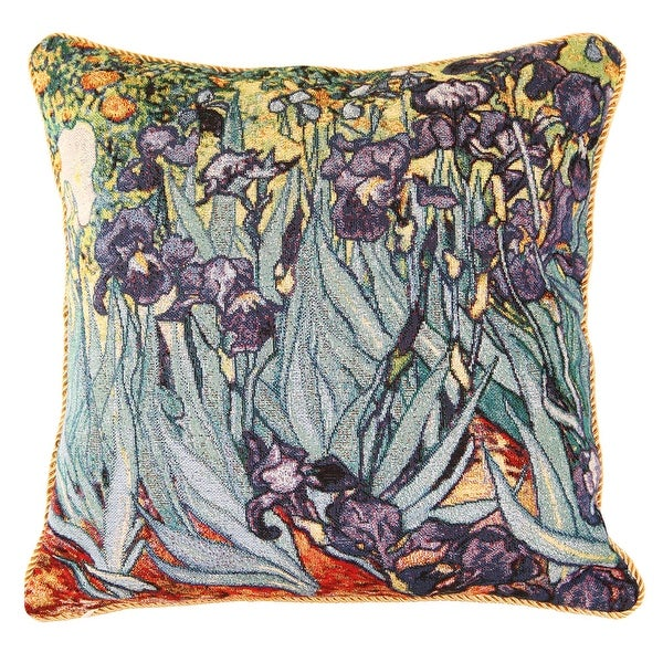 Fine Art Double-Sided Tapestry Square Throw Pillow Cover - Irises