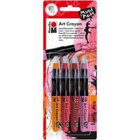 Marabu Creative Art Crayon Set 4/Pkg-Lovely Red - Pink, Orange & Reds