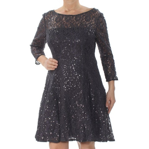 SLNY Womens Gray Sequined Lace Long Sleeve Boat Neck Knee Length Fit + Flare Party Dress Size: 12