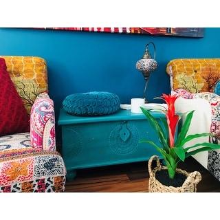 "Handmade Wanderloot Leela Teal Blue Medallion Coffee Table Trunk (India) - 18""H x 18""W x 35""L"