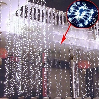 AGPtek 300 LED Outdoor Fairy Curtains String light for Xmas Wedding Party Cool White