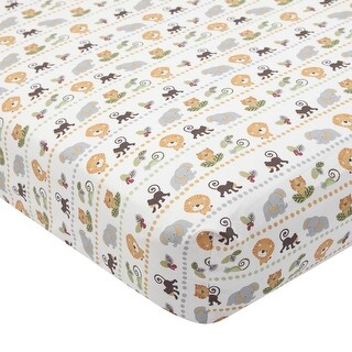 Lambs & Ivy Brown Treetop Buddies Fitted Crib Sheet