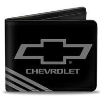 Chevrolet Bowtie 3 Stripe Black Charcoal Bi Fold Wallet - One Size Fits most