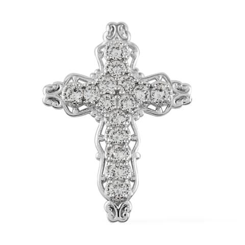 Platinum Yg ION Plated Made with Swarovski Crystal Cross Pendant