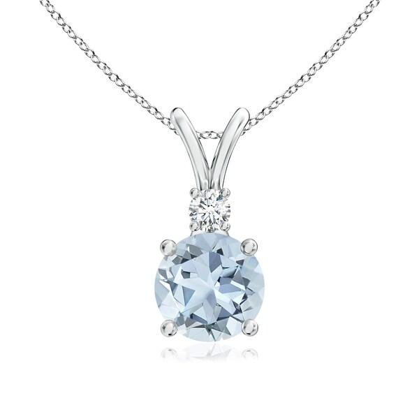 Angara V-Bail Round Morganite Solitaire Necklace in Platinum WYNnX8
