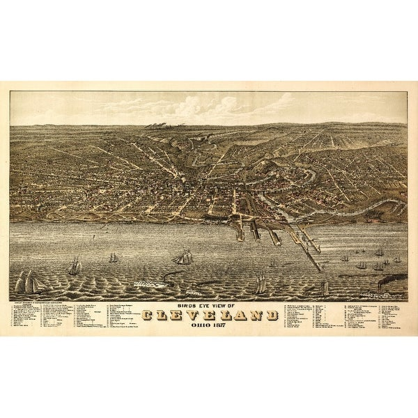 Cleveland, OH - (1877) - Panoramic Map (Acrylic Wall Clock)