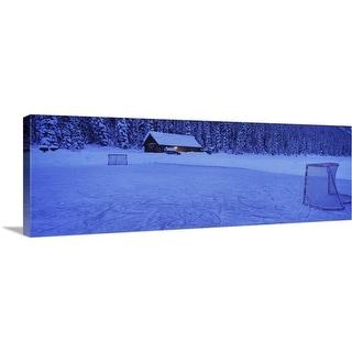 """Hockey net on a snowcapped landscape, Lake Louise, Alberta, Canada"" Canvas Wall Art"