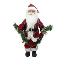 "18"" Santa Claus Holding a Pine Garland Tabletop Decoration - RED"