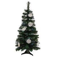 3' Pre-Lit Fiber Optic Artificial Christmas Tree with White Snowflakes - Multi