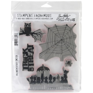 "Tim Holtz Cling Stamps 7""X8.5""-Halloween Cutouts"