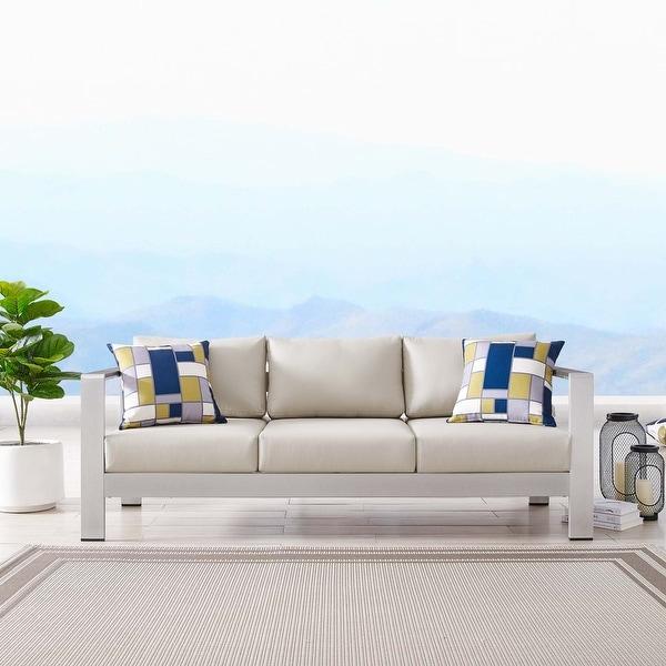 Shop Shore Outdoor Patio Aluminum Sofa - Overstock - 30399323 on Safavieh Outdoor Living Granton 5 Pc Living Set id=70954