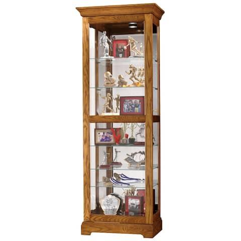 Howard Miller Moorland 2-Way Slider, Contemporary Modern, Transitional, Solid Oak Wood, Tall, 7-Shelf Living Room Curio Cabinet