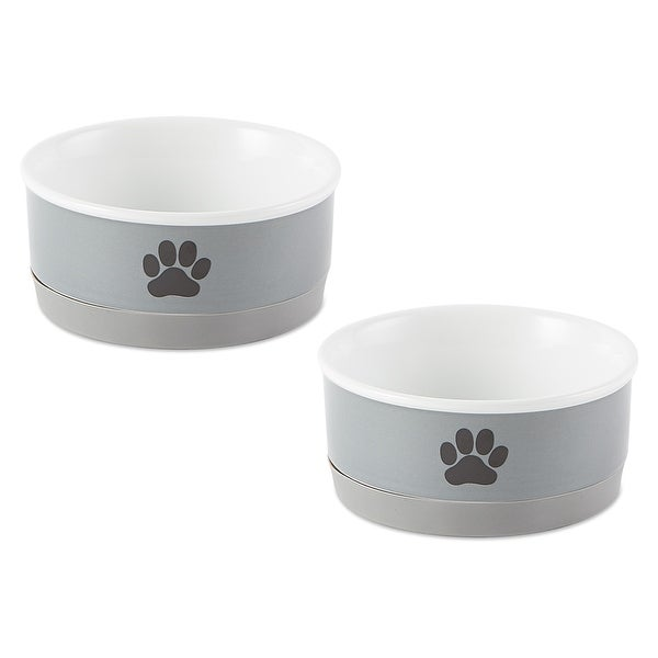 DII Pet Bowl Black Paw Print Gray Small 4.25dx2h (Set of 2). Opens flyout.