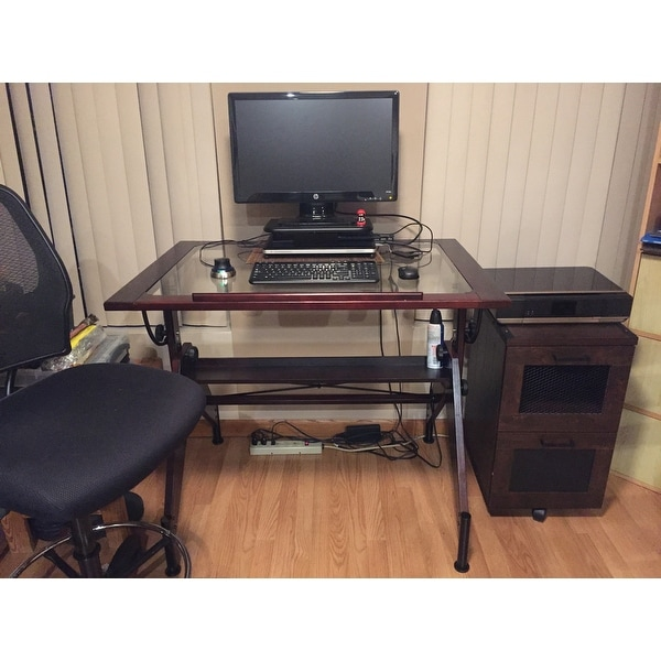 Shop Studio Designs Aries 42 Inch Wide Glass Top Drafting Table   Free  Shipping Today   Overstock.com   9173842