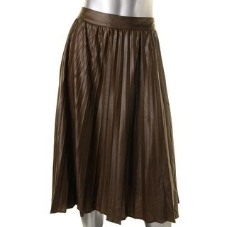 Grace Elements Womens Faux Leather Pleated A-Line Skirt