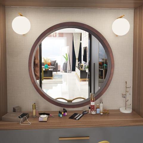 Modern Round Wood Wall Mirror