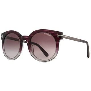 Tom Ford Janina TF 435 83T 53mm Purple Gradient Women's Round Sunglasses - purple havana - 53mm-22mm-140mm
