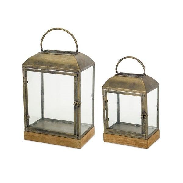 "Set of 2 Bronze Brown Framed Decorative Floral Pillar Candle Lanterns 16.25"" - N/A"