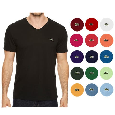 Lacoste Men's Pima Cotton Short Sleeve V Neck Athletic T-Shirt