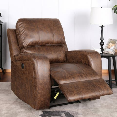 Power Electric Bonded PU Leather Recliner Chair with USB Charge Port
