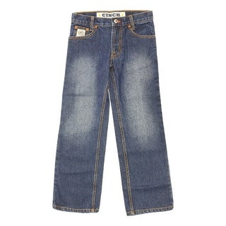 Cinch Western Denim Jeans Boys Slim White Label Dark Indigo MB12881002