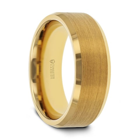 Thorsten HONOR Mens Tungsten Ring Tungsten Gold Plated Wedding Ring Band Matte Brushed Finish and Polished Beveled Edges