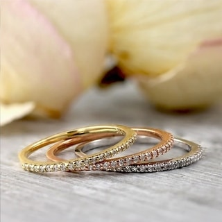 Auriya 10k Gold 1/10ctw Petite Stackable Diamond Wedding Band Ultra-Thin