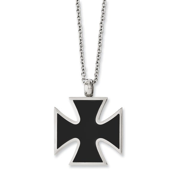 Chisel Stainless Steel Black IP-plated & Polished Cross 22in Necklace