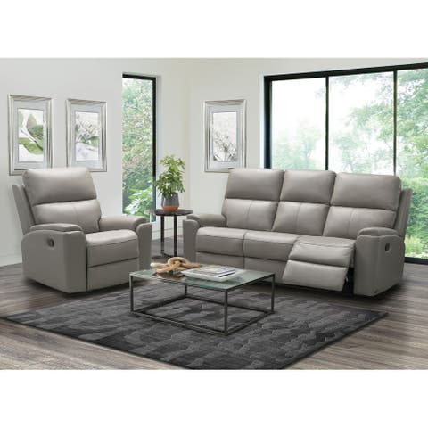 Abbyson Jackson Top Grain Leather Manual Reclining Sofa and Recliner Set