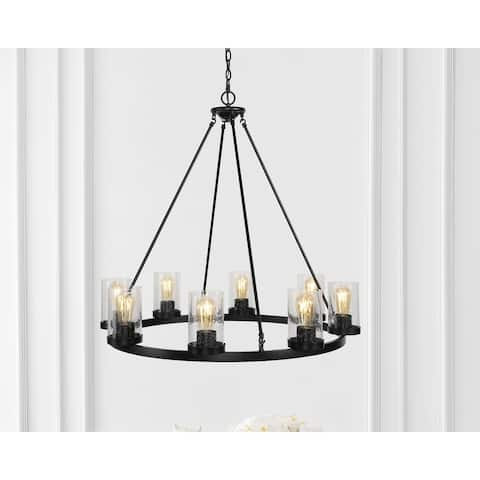 "Pablo Ring 33.5"" Iron LED Chandelier, Oil Rubbed Bronze by JONATHAN Y - 8 Bulb"