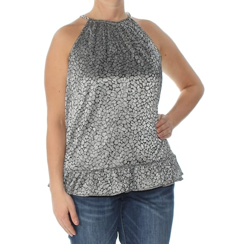 MICHAEL KORS Womens Silver Embellished Metallic Animal Print Sleeveless Top Size: L