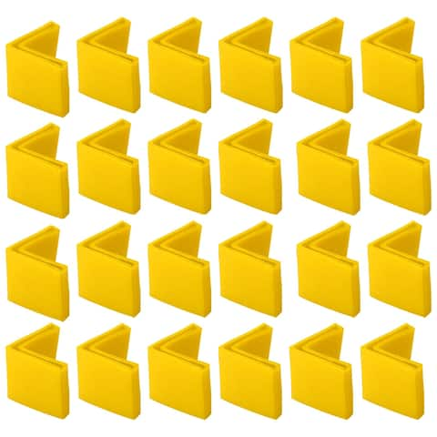 40mm x 40mm Angle Iron Foot Pads L Shaped PVC Furniture Leg Caps End Covers Prevent Scratch Floor Protector Yellow 24 Pcs