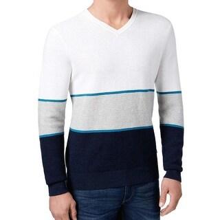 Michael Kors NEW White Navy Blue Mens Large L Ribbed V-Neck Sweater
