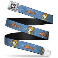 Hello Kitty W Red Bow Full Color Black Hello Kitty Zodiac Leo Webbing Seatbelt Belt