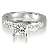 1.00 cttw. 14K White Gold Trellis Princess Cut Diamond Engagement Ring